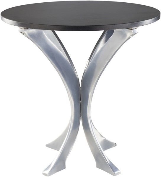 Surya Bryson Silver Black Marble Side Table BRS001-181819