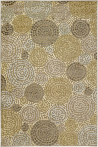 Basilica Taupe Moss Olive Viscose Chenille Area Rug - 62 x 90 BSL7128-5276