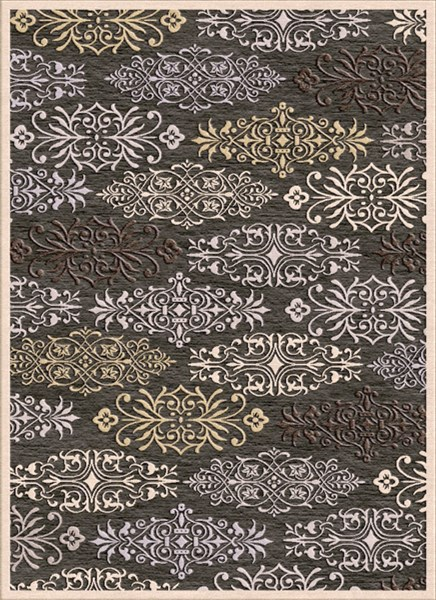 Basilica Black Ivory Light Gray Viscose Chenille Area Rug - 48 x 67 BSL7133-457
