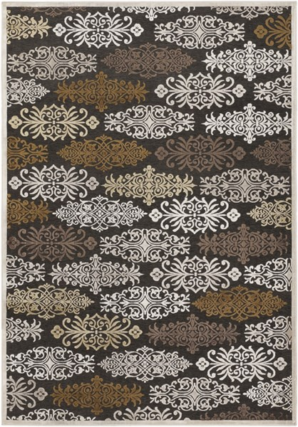 Basilica Black Ivory Light Gray Viscose Chenille Area Rug - 62 x 90 BSL7133-5276