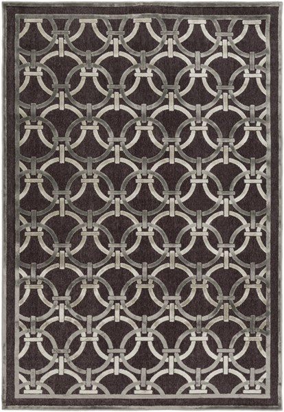 Surya Basilica Dark Brown Light Gray Khaki Viscose Area Rug - 90x62 BSL7218-5276