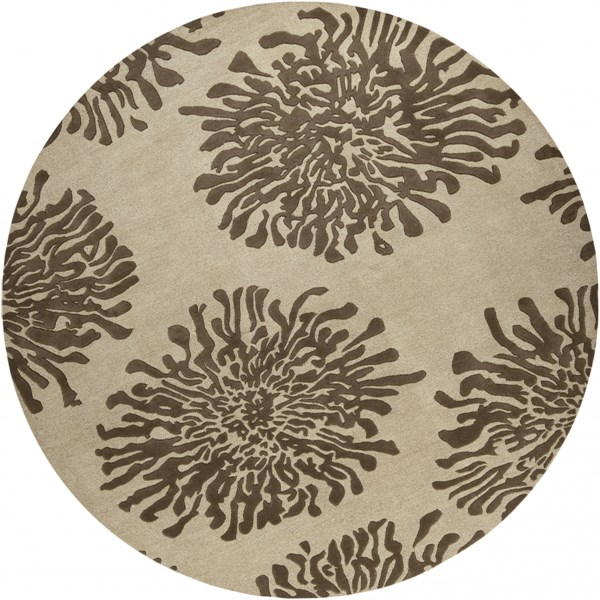 Bombay Beige Chocolate New Zealand Wool Round Area Rug - 96 x 96 BST493-8RD