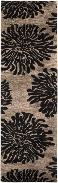 Bombay Taupe Charcoal New Zealand Wool Runner - 30 x 96 BST496-268