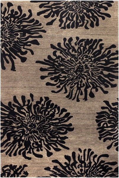 Bombay Taupe Charcoal New Zealand Wool Area Rug - 60 x 96 BST496-58