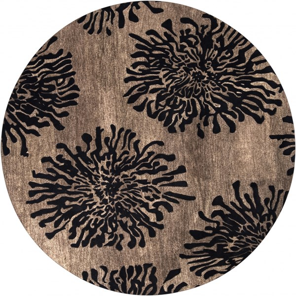 Bombay Taupe Charcoal New Zealand Wool Round Area Rug - 96 x 96 BST496-8RD