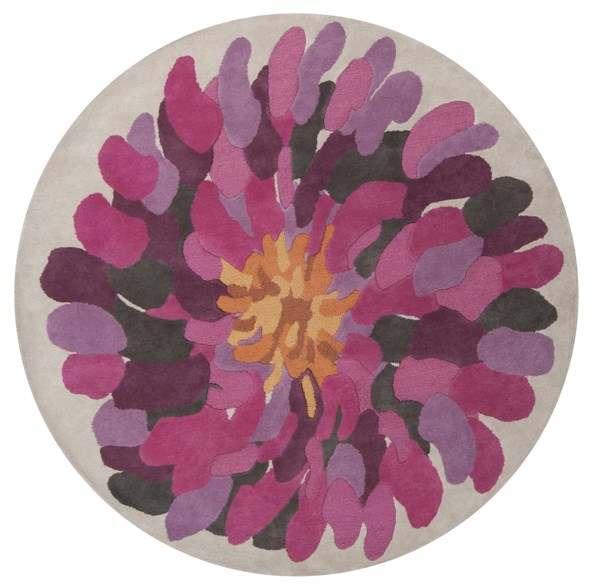 Bombay Magenta Pink Lavender New Zealand Wool Round Area Rug - 96 x 96 BST529-8RD