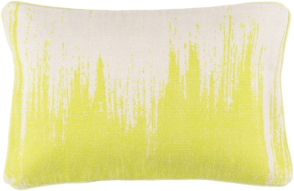 Bristle Pillow with Down Fill in Light Gray and Lime - 22 x 14 x 4 BT016-2214D