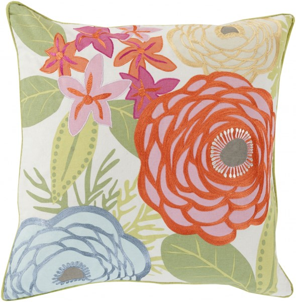 Buttercup Contemporary Coral Slate Mint Cotton Throw Pillows 13491-VAR1