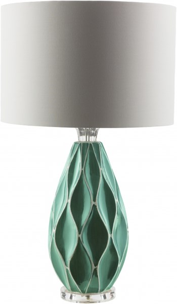 Bethany Contemporary Teal Yellow Grey Ceramic Cotton Table Lamps 13909-VAR1