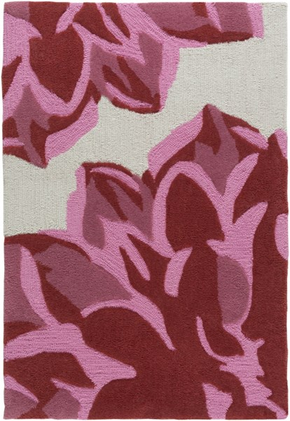 Budding Gray Carnation Burgundy Polyester Kids Rug - 24 x 36 1802-VAR1