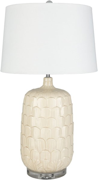 Surya Bayview Cream White Ceramic Table Lamp - 17x30.75 BVW-002