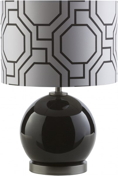 Bowen Solid Black Glass Polyester Table Lamp - 13x19.25 BWN890-TBL