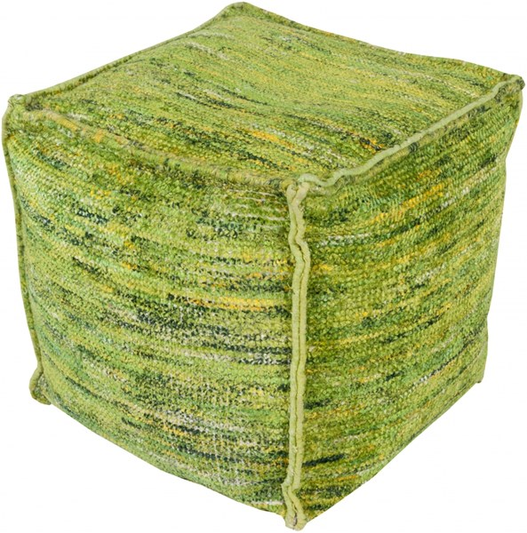 Bazaar Lime Green Light Gray Chocho Cotton Pouf - 18x18x18 BZPF-002