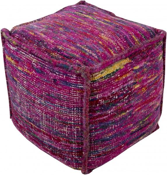 Bazaar Magenta Sunflower Iris Chocho Cotton Pouf - 18x18x18 BZPF004-181818