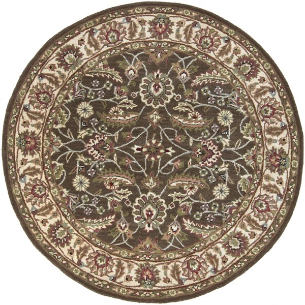 Surya Caesar Dark Brown Sage Bright Red Wool Round Area Rug - 72x72 CAE1003-6RD