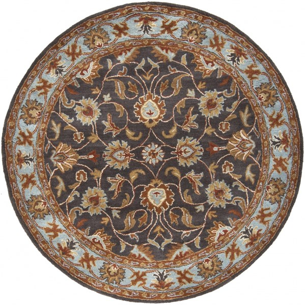 Caesar Charcoal Rust Sky Blue Wool Round Area Rug - 72 x 72 CAE1004-6RD