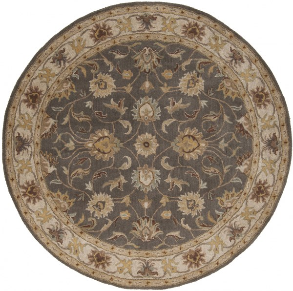 Caesar Charcoal Light Gray Sunflower Wool Round Area Rug - 72 x 72 CAE1005-6RD