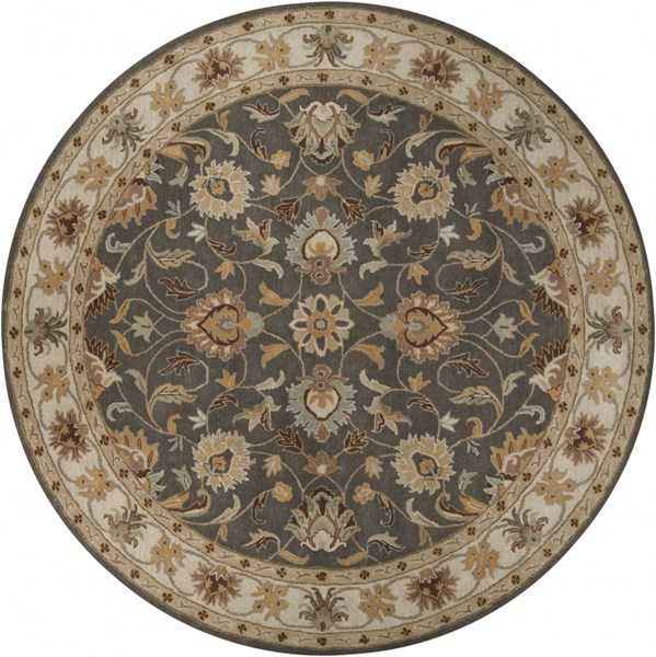Caesar Charcoal Light Gray Sunflower Wool Round Area Rug - 96 x 96 CAE1005-8RD