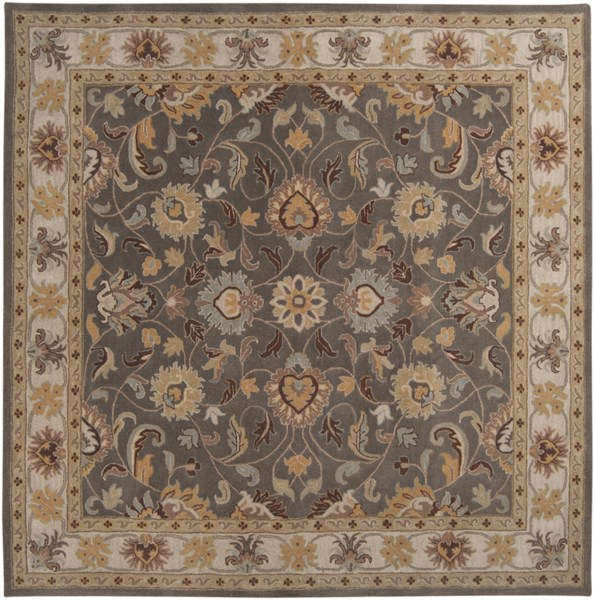 Surya Caesar Charcoal Khaki Bright Yellow Wool Square Area Rug - 48x48 CAE1005-4SQ