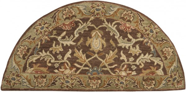 Caesar Chocolate Olive Gold Wool Hearth Area Rug - 24 x 48 CAE1009-24HM