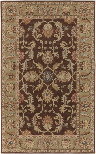 Caesar Chocolate Olive Gold Wool Area Rug - 60 x 96 CAE1009-58