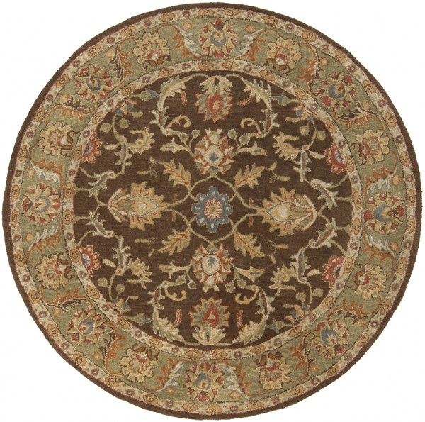 Caesar Chocolate Olive Gold Wool Round Area Rug - 72 x 72 CAE1009-6RD