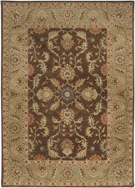 Caesar Chocolate Olive Gold Wool Area Rug - 96 x 132 CAE1009-811