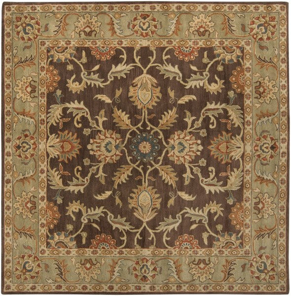 Caesar Chocolate Olive Gold Wool Square Area Rug - 96 x 96 CAE1009-8SQ