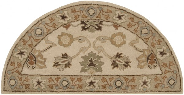 Caesar Ivory Beige Taupe Wool Hearth Area Rug - 24 x 48 CAE1010-24HM
