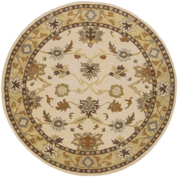Surya Caesar Khaki Tan Dark Brown Wool Round Area Rug - 117x117 CAE1010-99RD