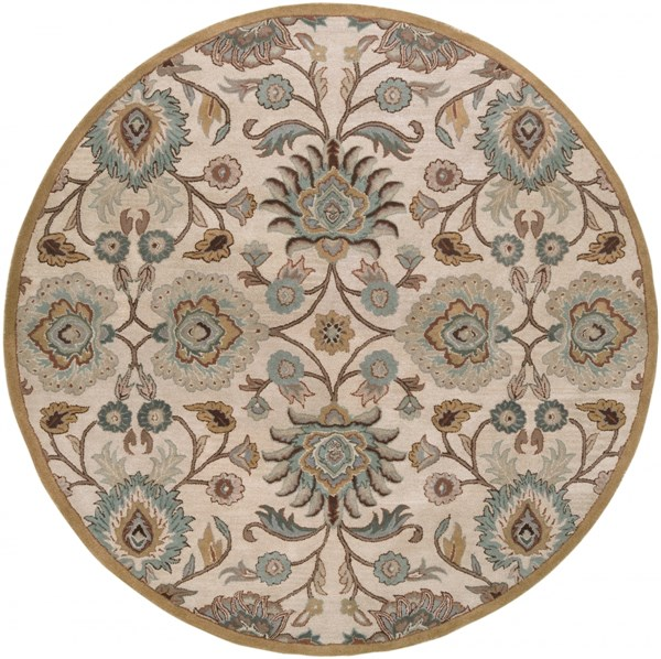 Caesar Taupe Mocha Gold Wool Round Area Rug - 96 x 96 CAE1012-8RD