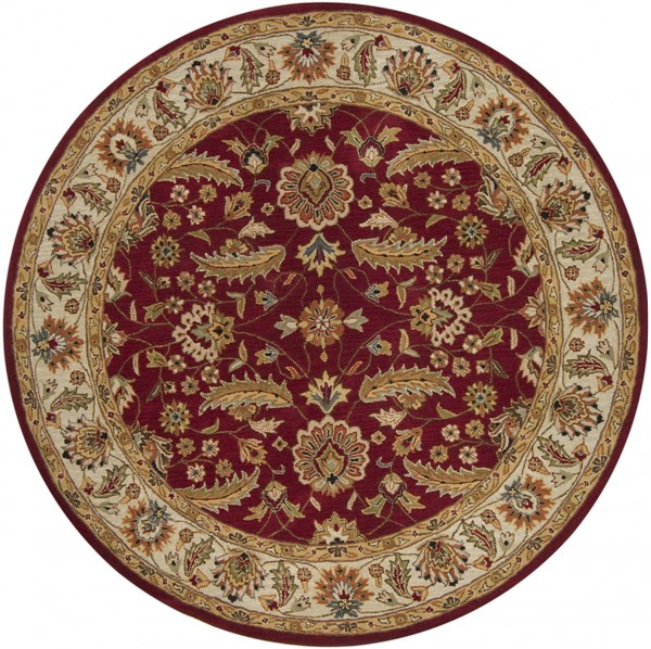 Surya Caesar Dark Red Cream Burnt Orange Wool Round Area Rug - 48x48 CAE1022-4RD