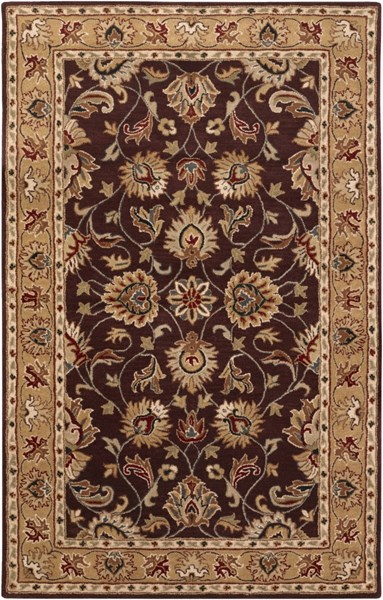 Surya Caesar Burgundy Khaki Dark Red Wool Area Rug - 144x108 CAE1024-912