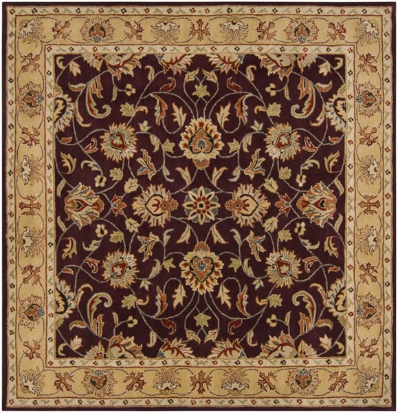Surya Caesar Burgundy Khaki Dark Red Wool Square Area Rug - 117x117 CAE1024-99SQ