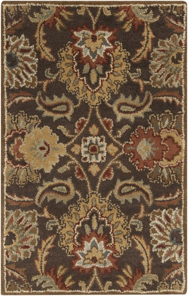 Caesar Traditional Chocolate Burgundy Gold Fabric Area Rugs 758-VAR1