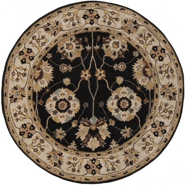 Caesar Charcoal Taupe Mocha Wool Round Area Rug - 72 x 72 CAE1033-6RD