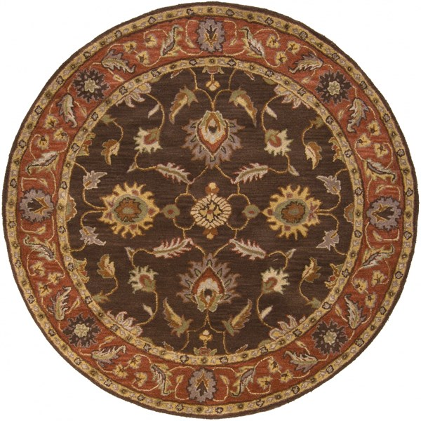 Caesar Chocolate Rust Taupe Wool Round Area Rug - 72 x 72 CAE1036-6RD
