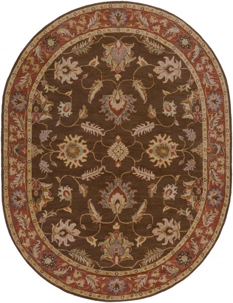 Surya Caesar Dark Brown Clay Tan Wool Oval Area Rug - 120x96 CAE1036-810OV