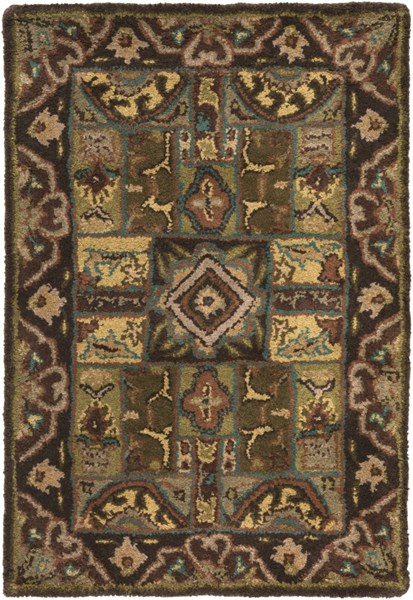 Caesar Traditional Olive Chocolate Beige Fabric Area Rugs 1215-VAR1