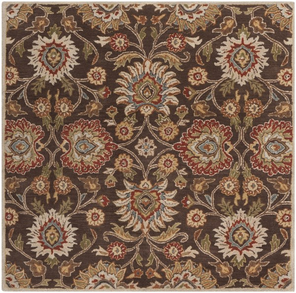 Caesar Chocolate Rust Olive Wool Square Area Rug - 72 x 72 CAE1051-6SQ