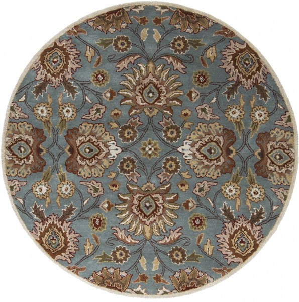 Caesar Moss Taupe Olive Wool Round Area Rug - 72 x 72 CAE1052-6RD