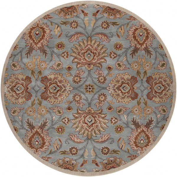 Caesar Traditional Moss Taupe Olive Fabric Area Rug (L 96 X W 96) CAE1052-8RD