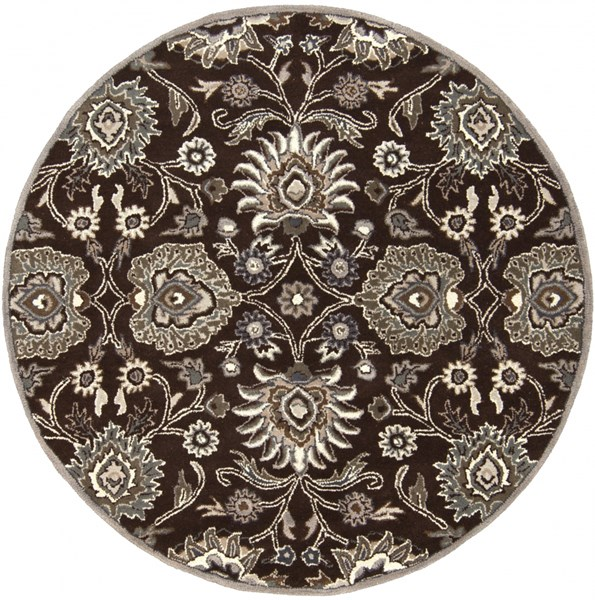 Caesar Chocolate Taupe Ivory Wool Round Area Rug - 72 x 72 CAE1063-6RD