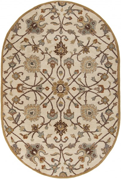 Caesar Traditional Beige Chocolate Gold Fabric Area Rug (L 108 X W 72) CAE1081-69OV