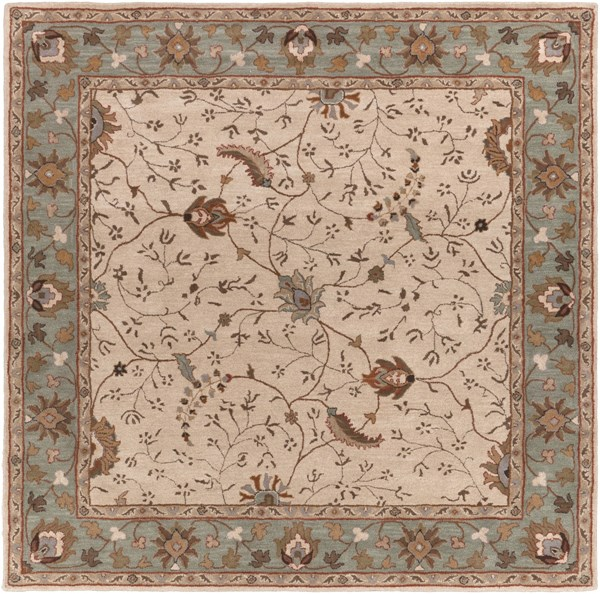 Caesar Olive Gray Chocolate Wool Square Area Rug - 96 x 96 CAE1088-8SQ