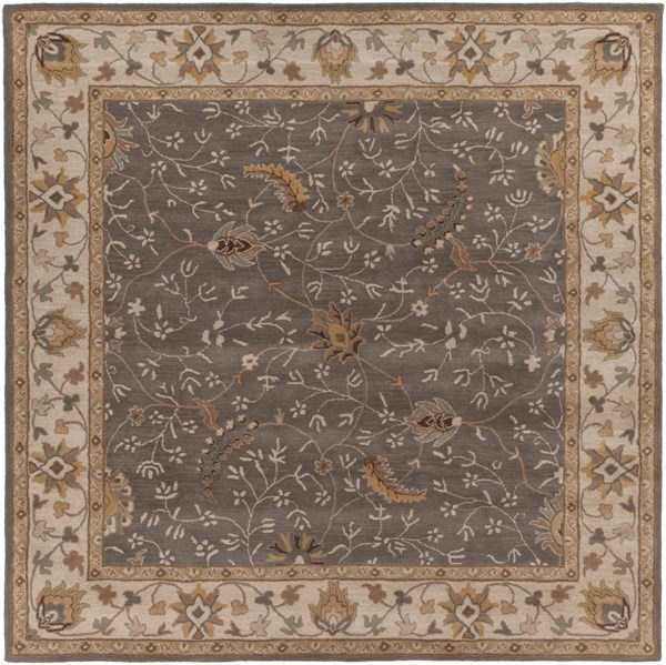 Caesar Moss Chocolate Gold Wool Square Area Rug - 96 x 96 CAE1093-8SQ
