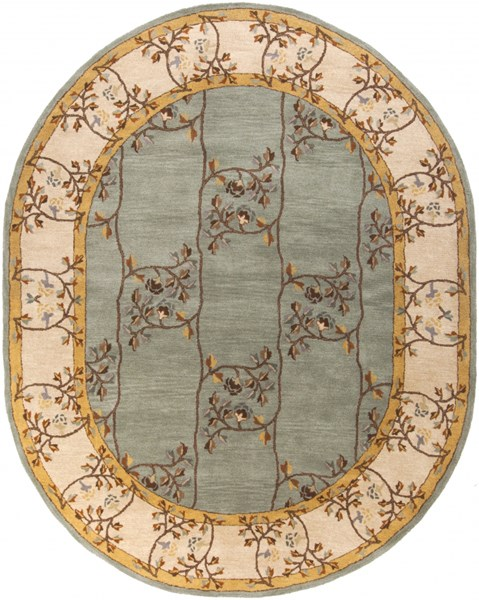 Caesar Moss Light Gray Rust Wool Oval Area Rug - 96 x 120 CAE1100-810OV