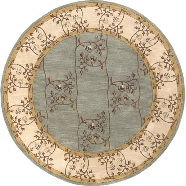 Caesar Moss Light Gray Rust Wool Round Area Rug - 96 x 96 CAE1100-8RD
