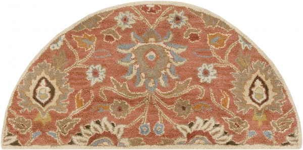 Caesar Traditional Rust Olive Ivory Fabric Area Rug (L 48 X W 24) CAE1107-24HM