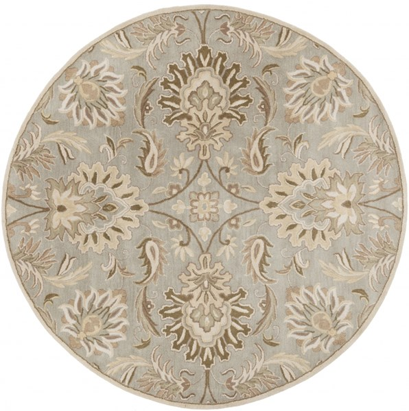 Caesar Gray Olive Taupe Wool Round Area Rug - 96 x 96 CAE1111-8RD